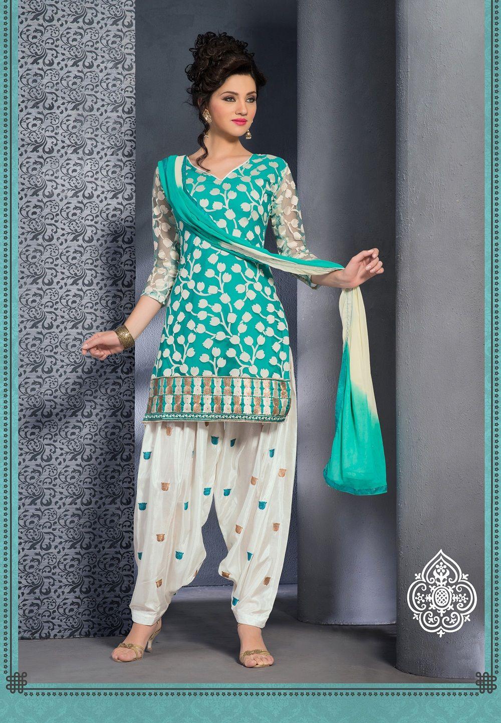Sky blue super net designer punjabisuit comes with for Dress dizain photo