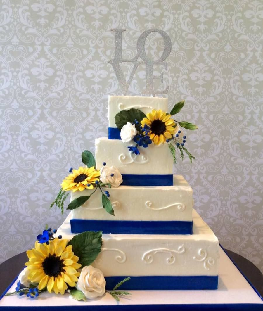 Sunflower Wedding Cake Ideas: Wedding Cake/ Sunflowers,roses,and Blue Accents.