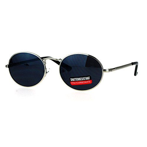 Mens 90s Gangster Rapper Mirror Lens Oval Retro Metal Rim Sunglasses Silver  Black ** You