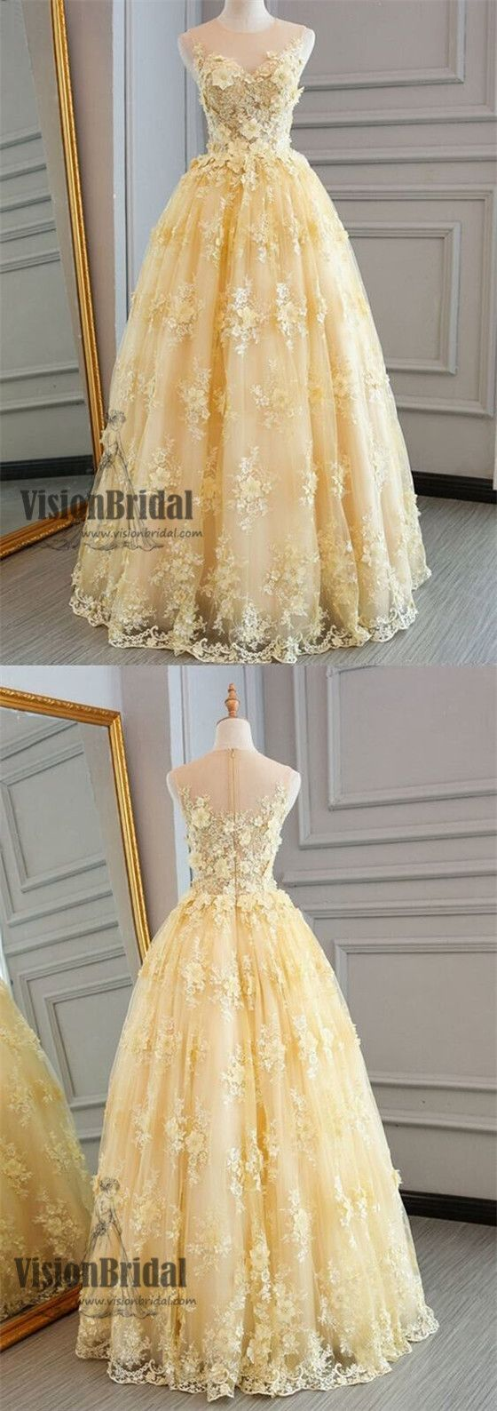 Illusion yellow lace appliques zipper up aline floorlength