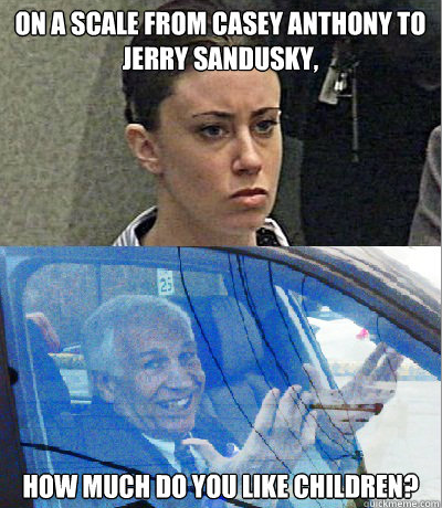 On A Scale From Casey Anthony To Jerry Sandusky How Much Do You Like Children This Is Funny But Not Funny At The Same Time Casey Anthony Sandusky Casey