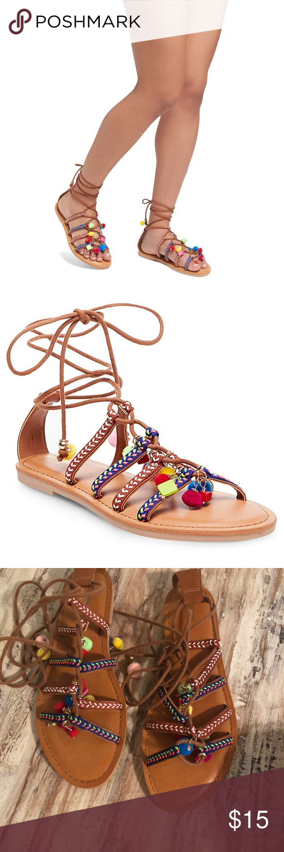 476abb2d96f Target Missimo Supply Co Kayla Gladiator Sandals Never worn!   Embroidered  gladiator straps   Ghillie-style lace-up design   Cushioned insole for  all-day ...