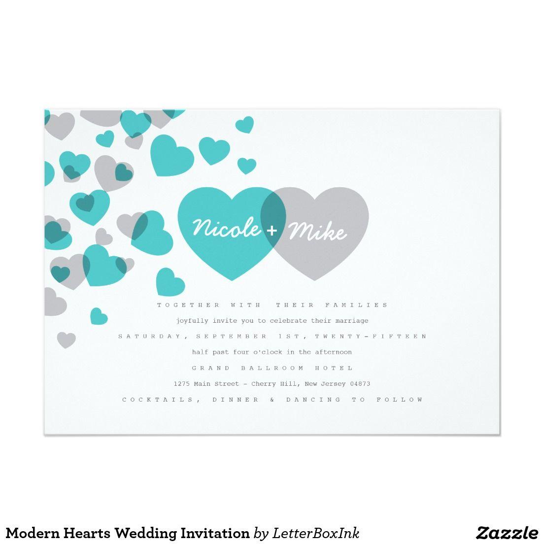 Modern Hearts Wedding Invitation