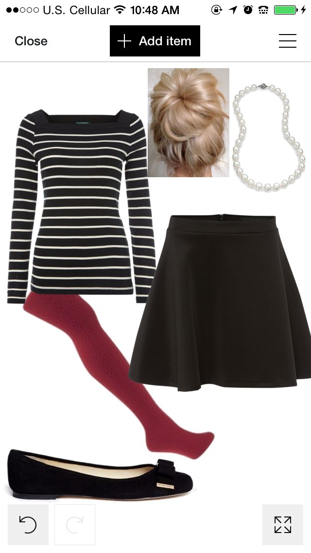 Christmas thanksgiving fall autumn winter dinner dressy dress up fancy classy pearls red maroon black white skirt tights outfit style fashion look messy bun stripe
