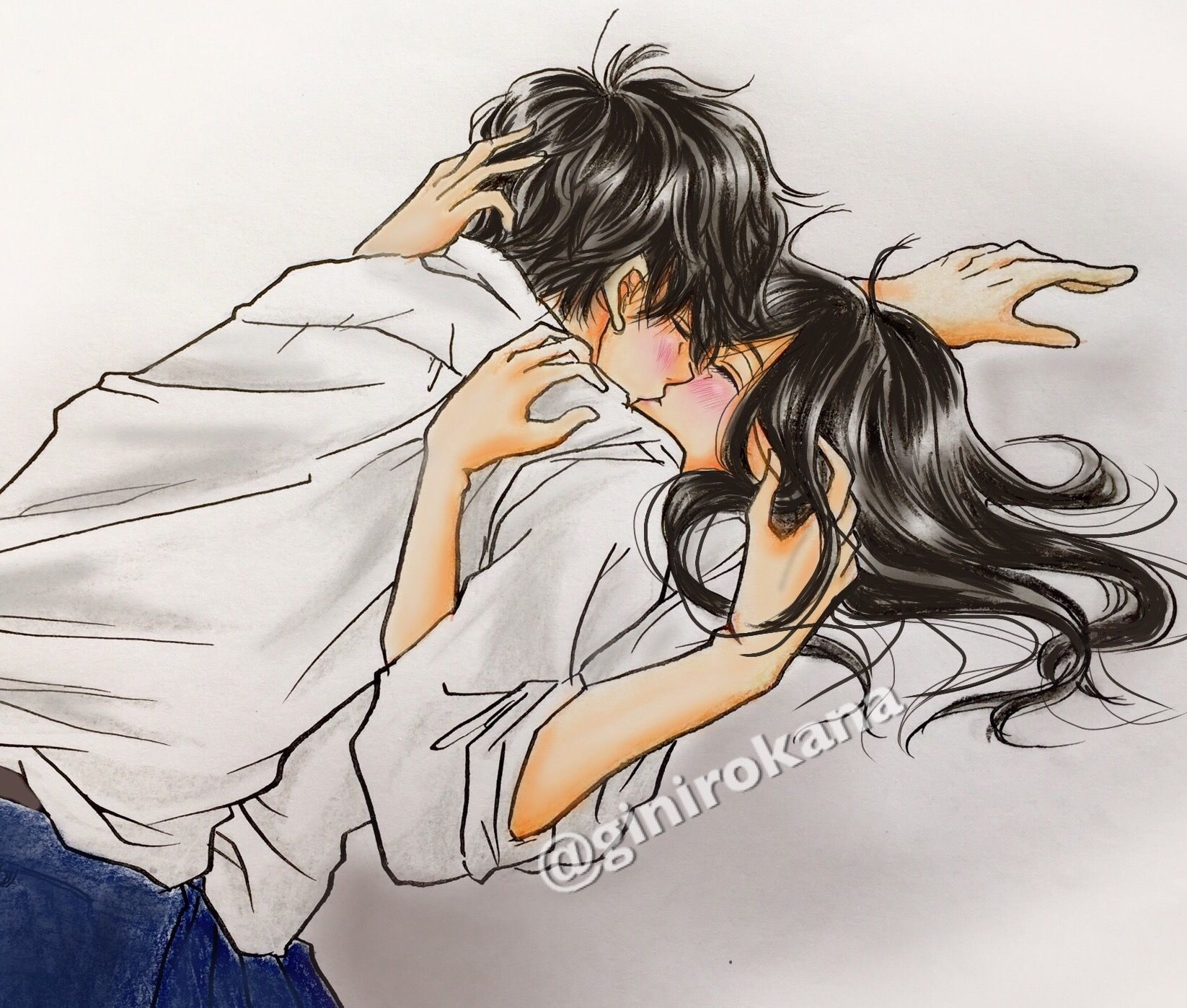 ginirokana kiss キス 高校生 可愛い カップル 恋人 制服 | 恋人イラスト