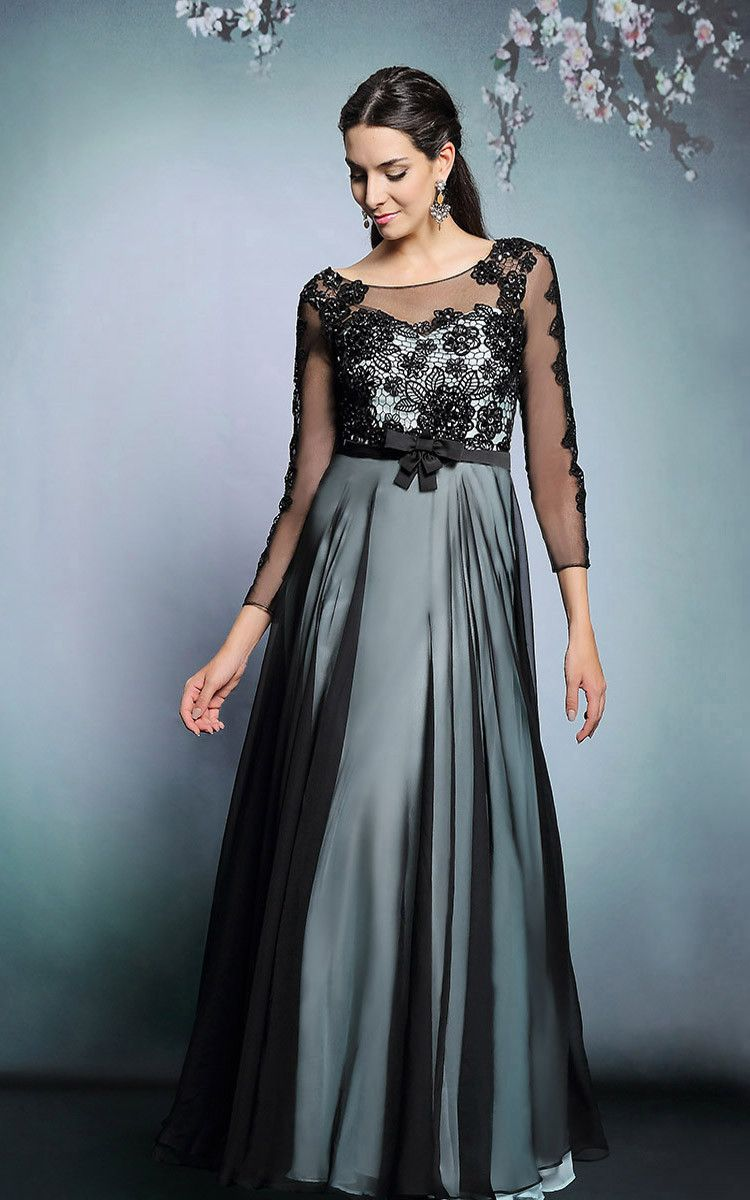 Modest Black Lace Formal Prom Dress with long Sleeves | Formal prom ...