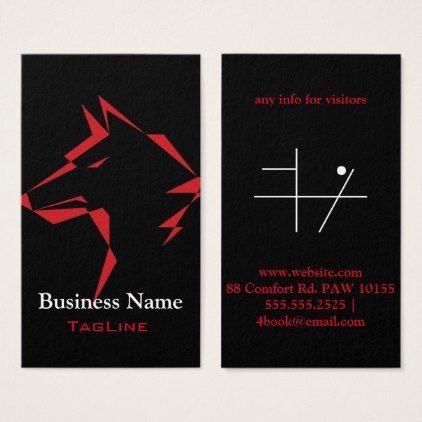 Tribewolf Red On Black Business Card Black Gifts Unique Cool Diy