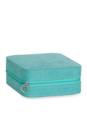 Mele Co Cagney Plush Fabric Travel Jewelry Box in Teal Travel