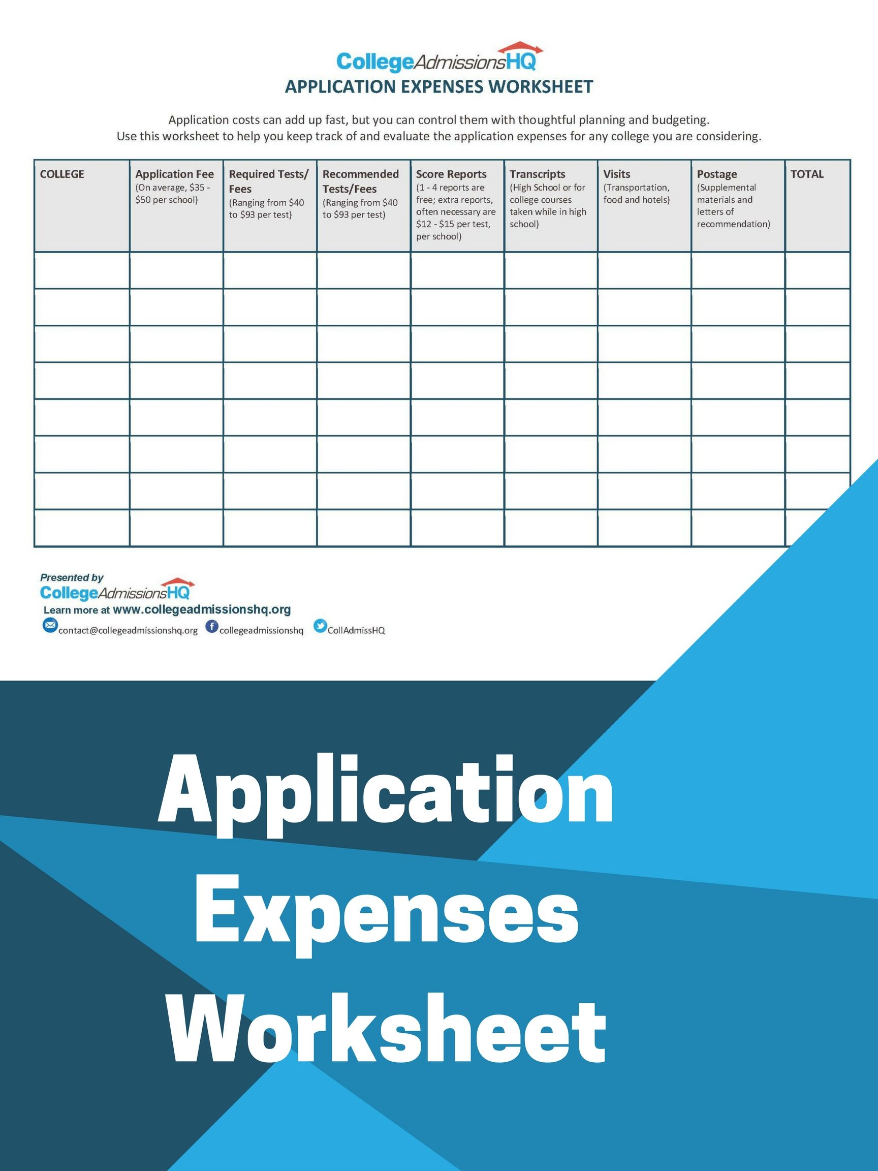 Application Expenses Worksheet College Application Financial Aid For College College Costs