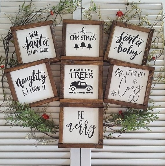 Christmas Mini Collection Farmhouse Wood Sign Christmas Wood Christmas Decor Diy Christmas Signs Wood