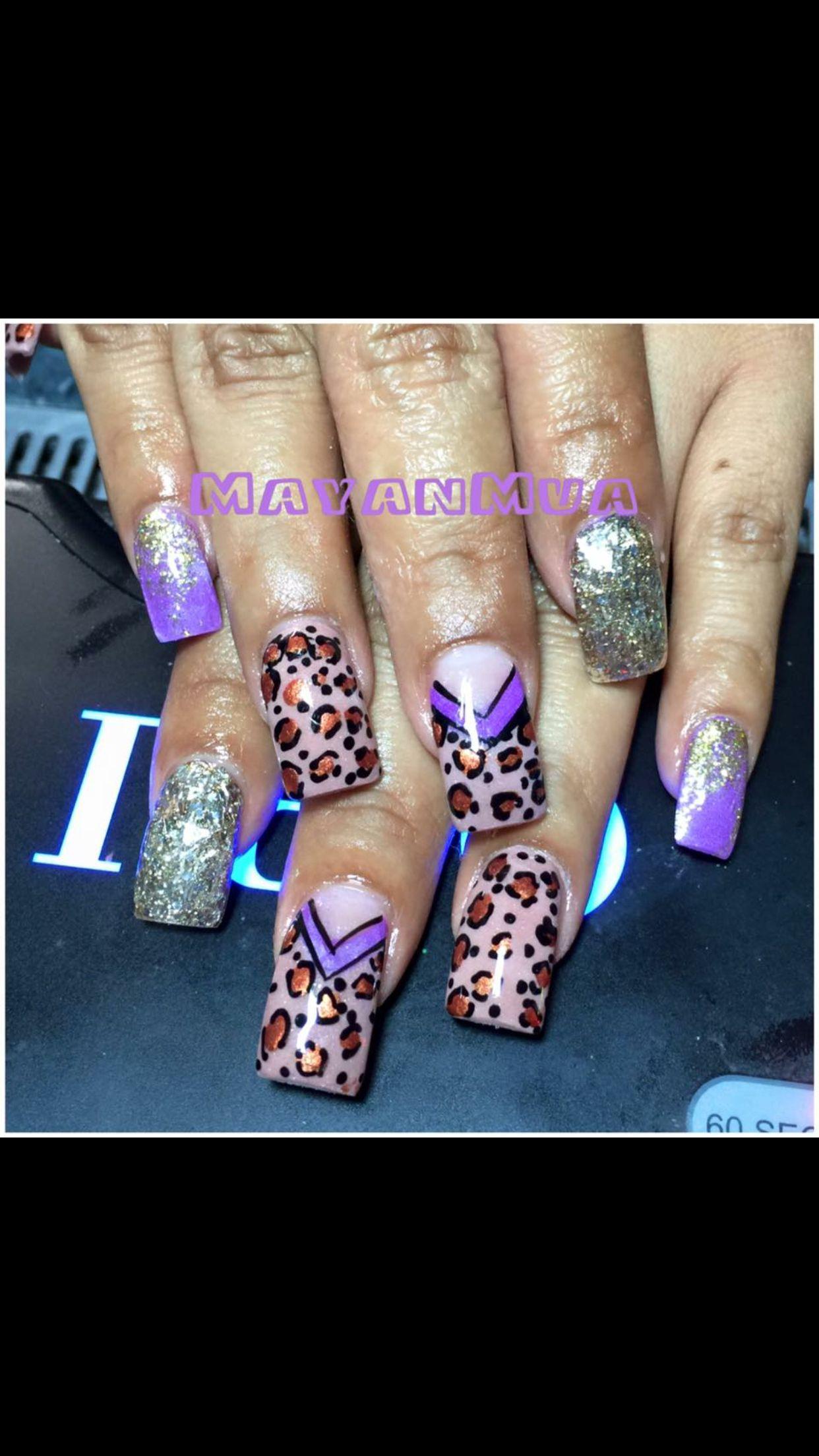 LG Salon, nail, acrylic, design, 3D, bling, coffin