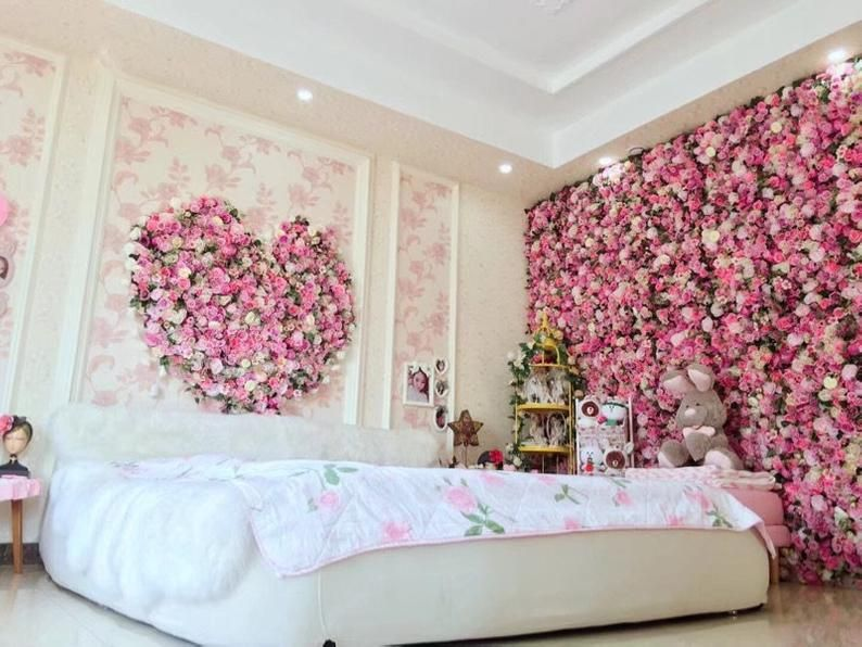 Hanging Fake Flower Wall For Backdrops And Room Decor Flower Room Decor Flower Room Cute Room Decor