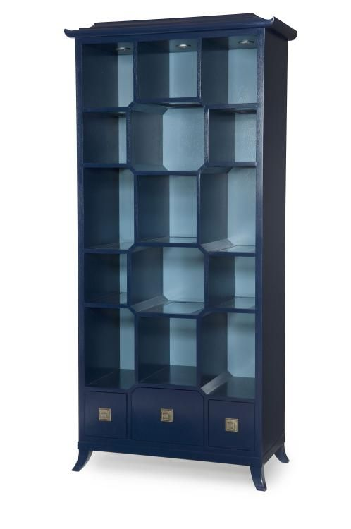 Century Furniture. Peking Open Display Cabinet. Navy.