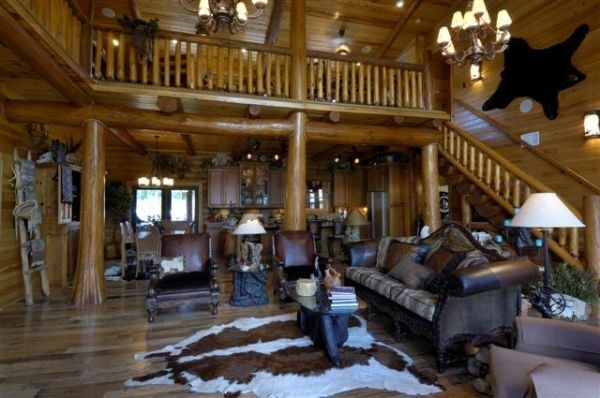 Log Home Living Rooms Homes By B K Cypress Inc