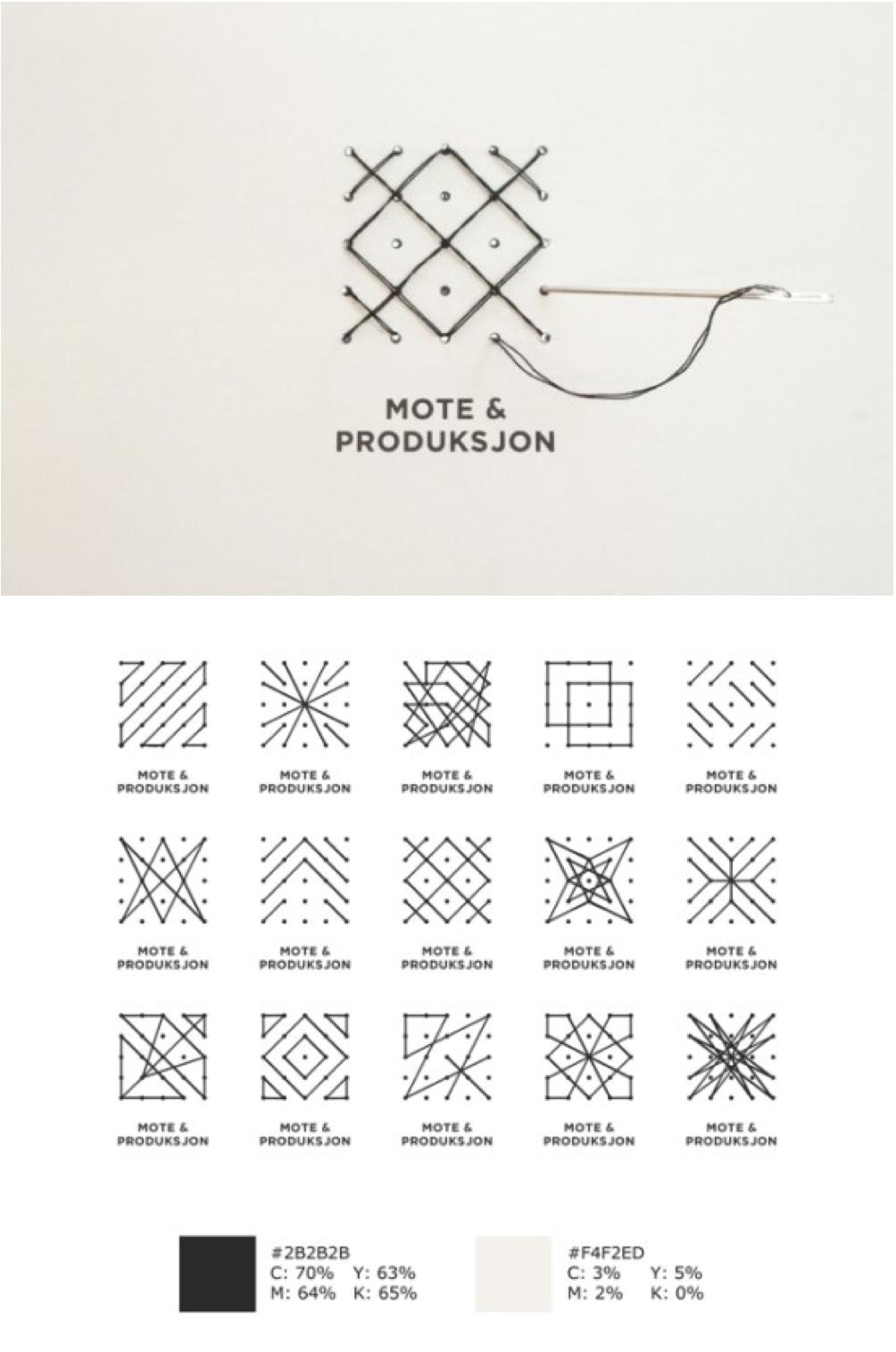 HIOA 의류 브랜드 로고 디자인  25개 구멍에 바느질하는 모양에 따라 변하는 로고 디자인. 패턴의 택이 일부분이 되고 랜덤으로 의류에 부착되어 재미를 줌.