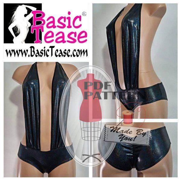 e5049f1656d2 Plunging Micro Mini Shorts Romper PDF Sewing Pattern. Make your own  plunging micro mini shorts romper. Learn to make your own exotic dancer  clothing.