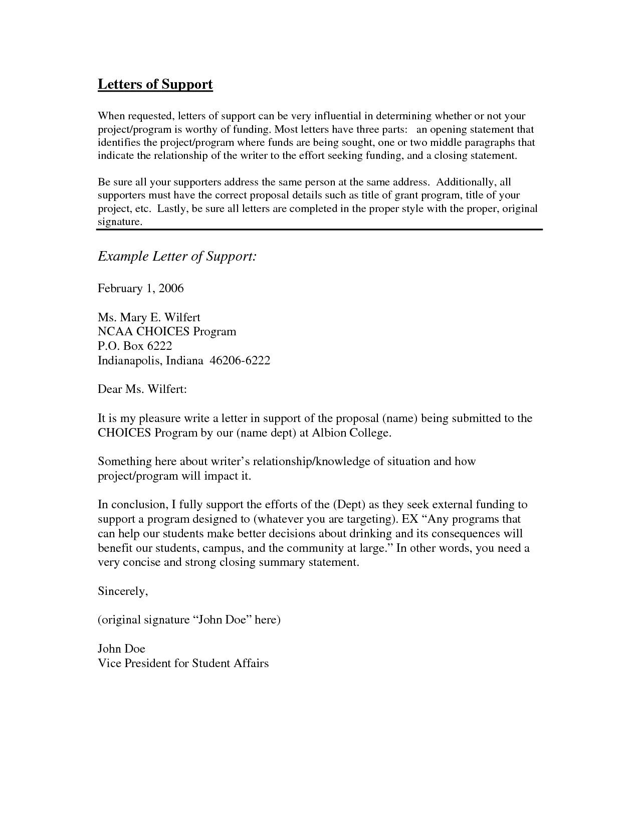 Immigration Support Letter Sample Awesome Letter Support