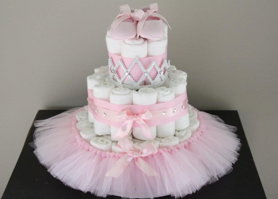 Ballerina Diaper Cake With Images Baby Girl Diaper Cake Baby