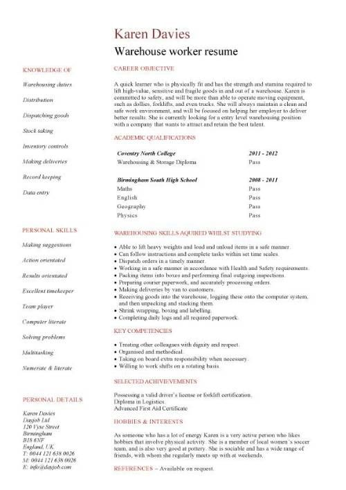 Warehouse Worker Resume Example -    wwwresumecareerinfo - resume templates for warehouse worker