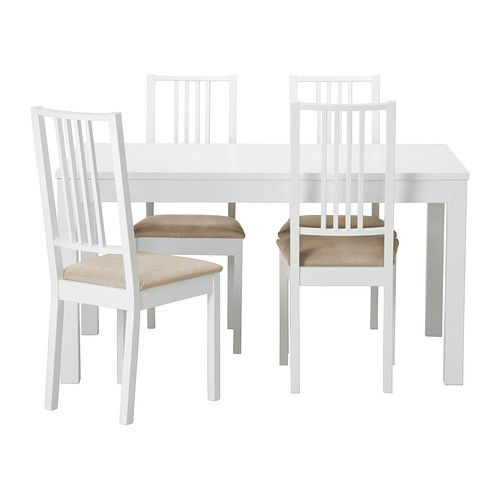 bjursta b rje table et 4 chaises blanc kungsvik sable ikea 287 sommerard pinterest. Black Bedroom Furniture Sets. Home Design Ideas