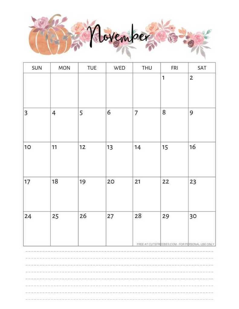 Free Printable November 2019 Calendar Pdf With Images 2019