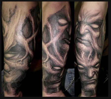 Tattoos Faces On Paul Booth Tattoo Evil Faces Tattoo Free Hand Tattoos Paul Booth Black And Grey Tattoos Grey Tattoo