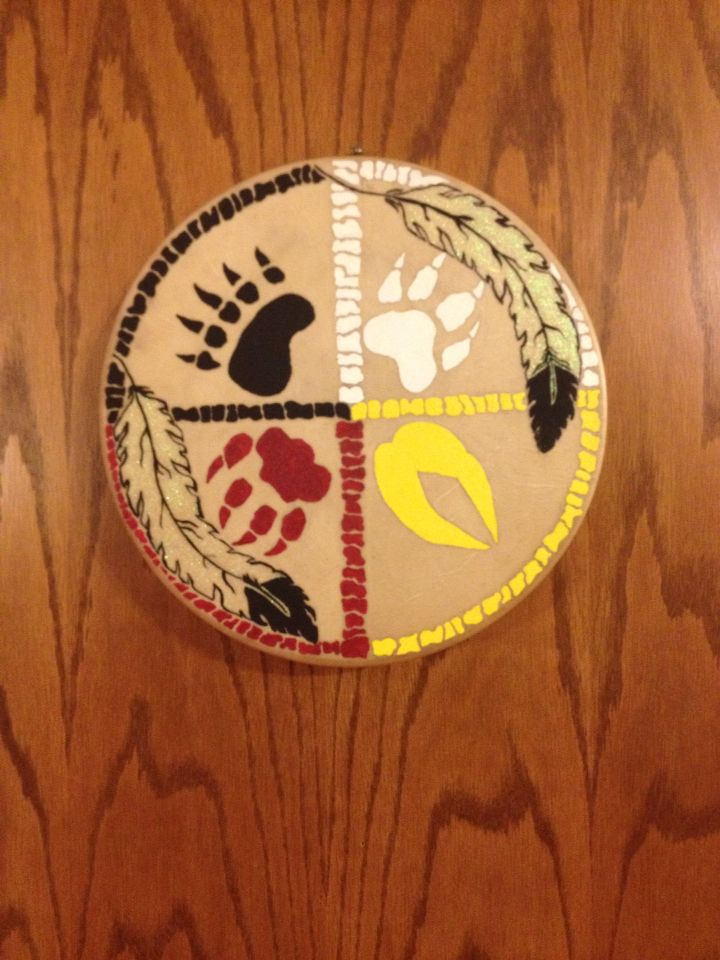 Deer skin hand drum hand painted medicine wheel si ux - Fogli da colorare nativo americano ...