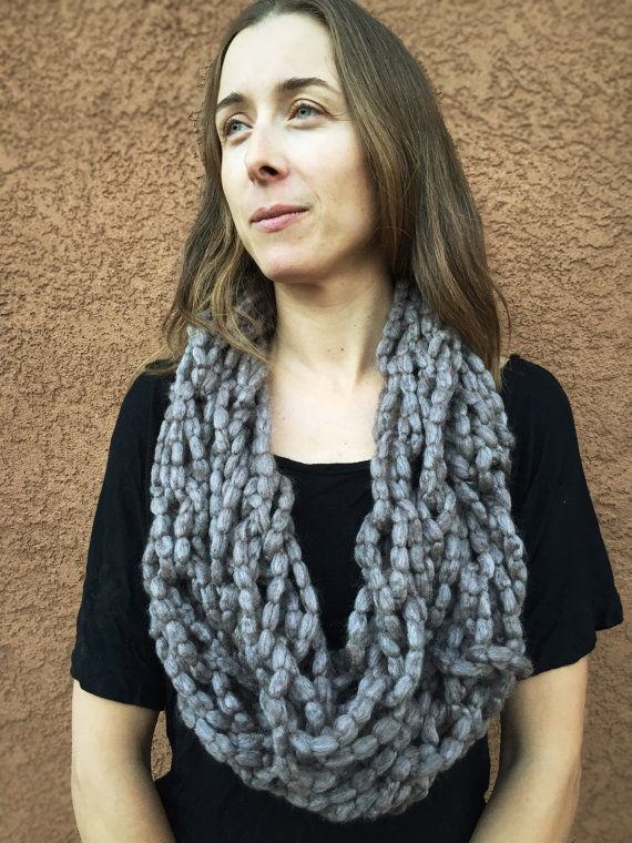 Handmade Knit Infinity Scarf Cowl Arm Knit by roothandcrafts