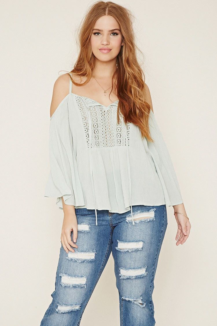 a879bc0c4080 Forever 21+ - A woven open-shoulder top with a crochet panel framing its  self-tie split neckline