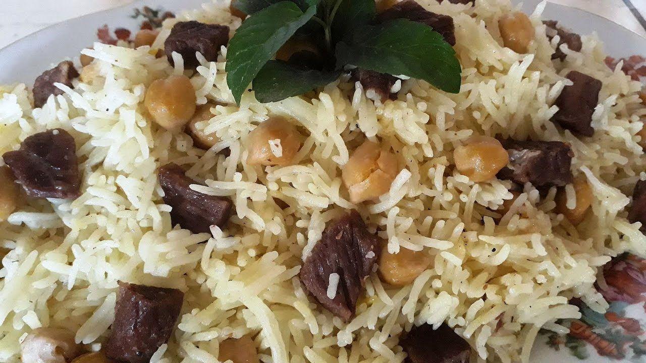 طريقة الرز بالحمص باللحم موقع طبخة Food Rice Grains