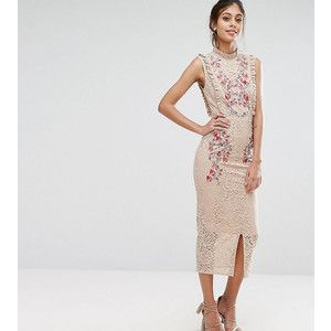 Hope & Ivy Embroidered High Neck Midi Dress In Allover Lace