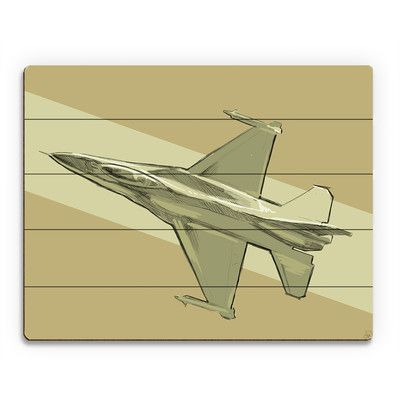 Click Wall Art 'Jet Sketch on Yellow' Graphic Art on Plaque Size: