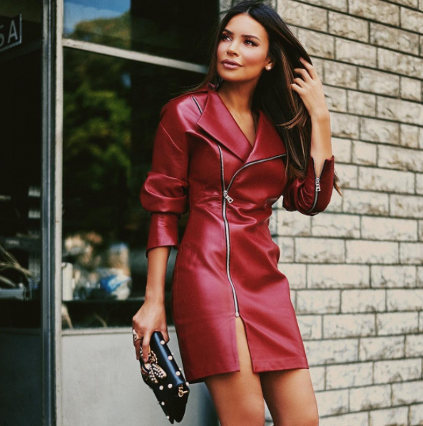 Jewelry designer Myriam Labiad wears the Pearl And Rubies leather dress with a chunky zip from the Fall / Winter 2017 collection.
