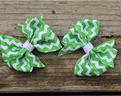 Pinwheel Hair Bow - Green and White Chevron (Set of 2)
