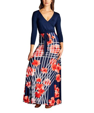 Another great find on #zulily! Red & Navy Floral Surplice Maxi Dress #zulilyfinds