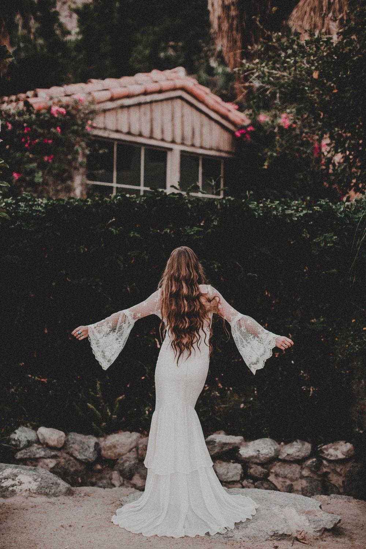 Chantel lauren janis lace bell sleeve wedding gown chantel
