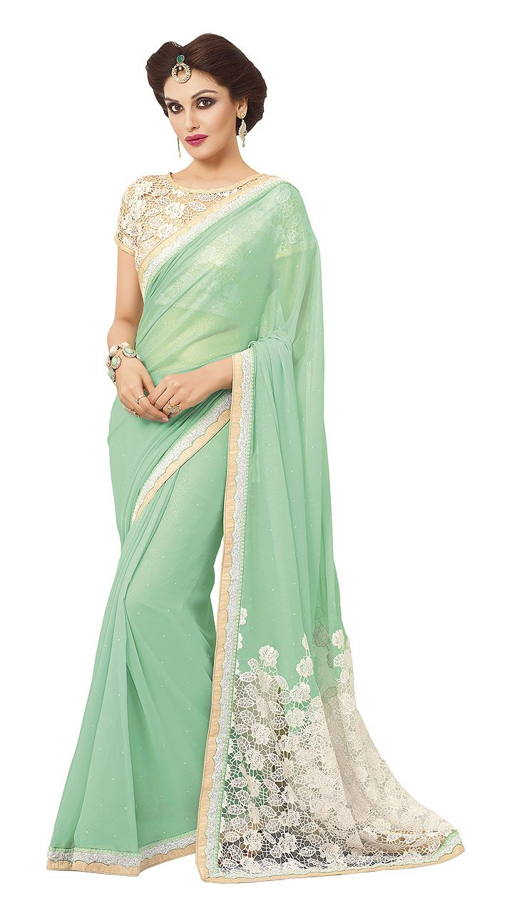 d2d9fbc9ac7ff4 Dazzling Pastel Green Georgette Kitty Party Saree With Floral Cut Work Palla