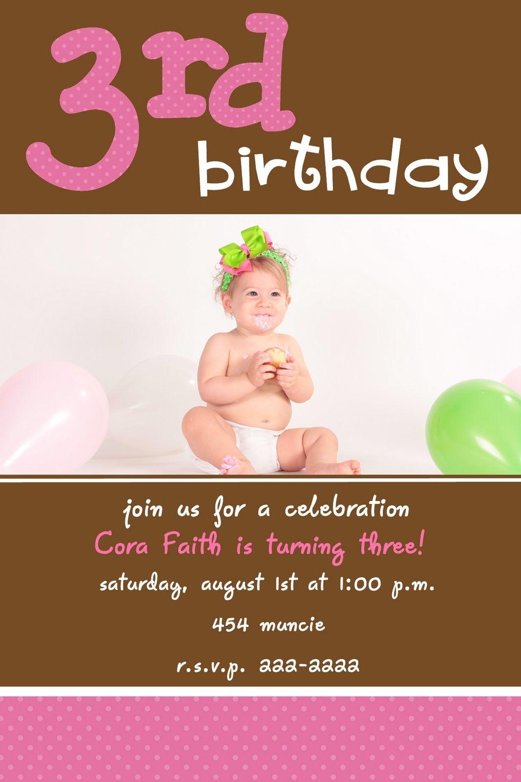 3rd birthday party invitation wording