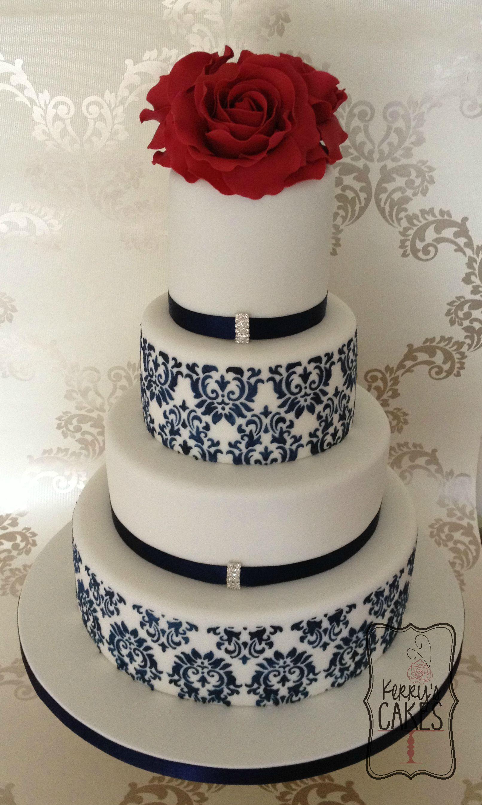 Red rose and navy damask wedding cake cake designs pinterest