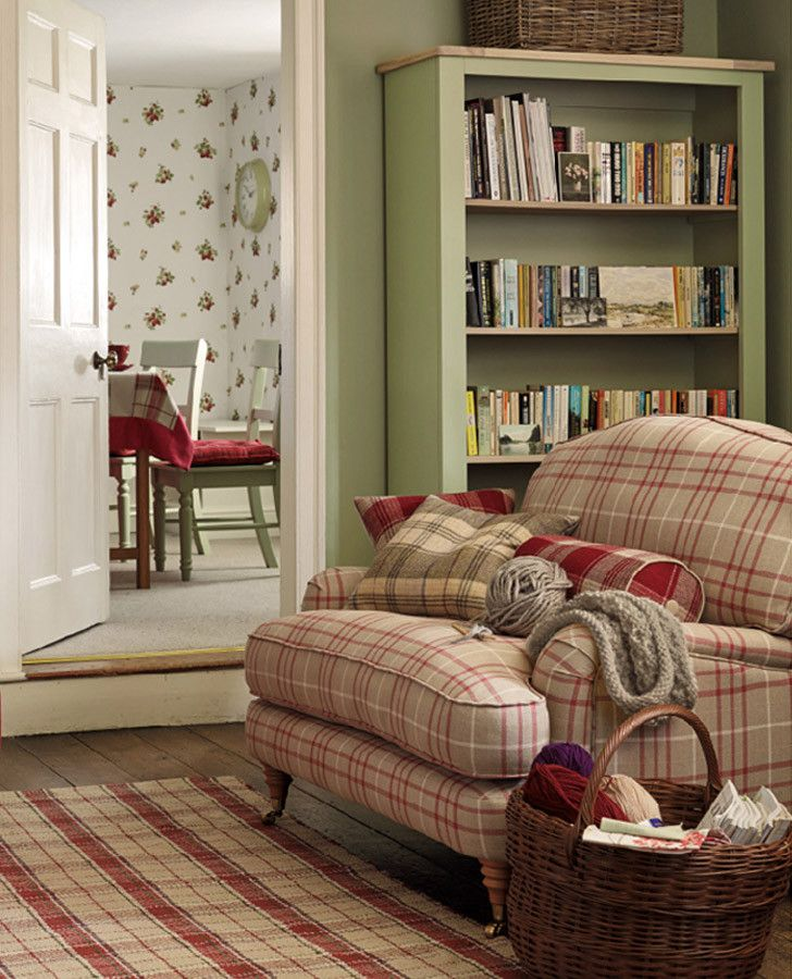 Plaid Furniture Country Living Room: Highland Check Cranberry Fabric