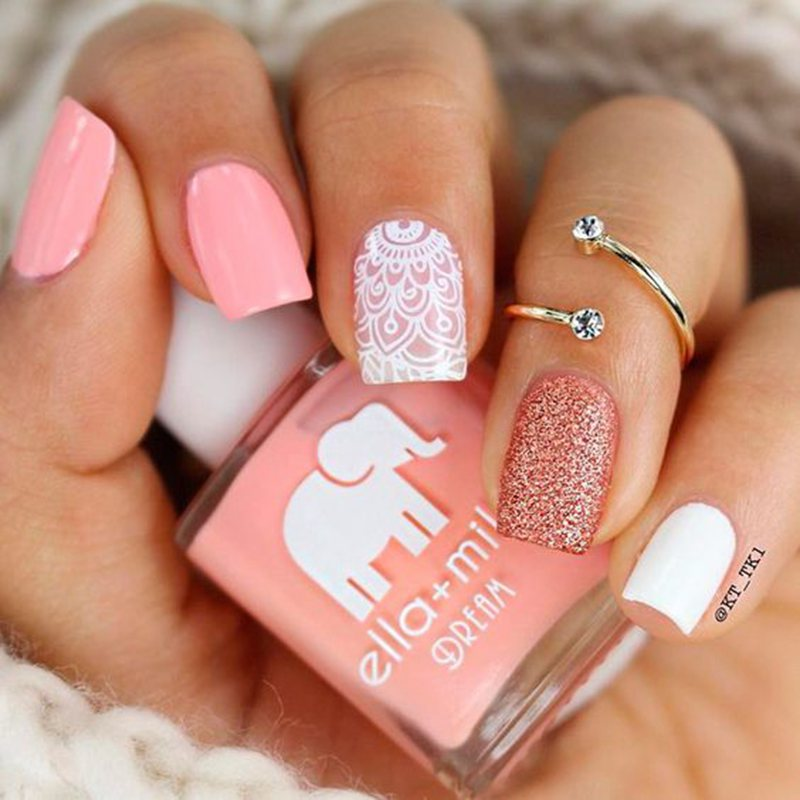 50 Sweet Pink And White Nail Design Ideas Pink Nails Nail Charms Square Nail Designs