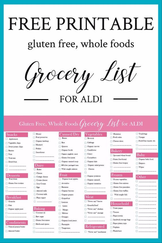Free Printable Gluten-Free, Whole Foods Grocery List For Aldi FREE Printable Gluten-Free, Whole Foods Grocery List for Aldi Gluten Free Recipes gluten free foods