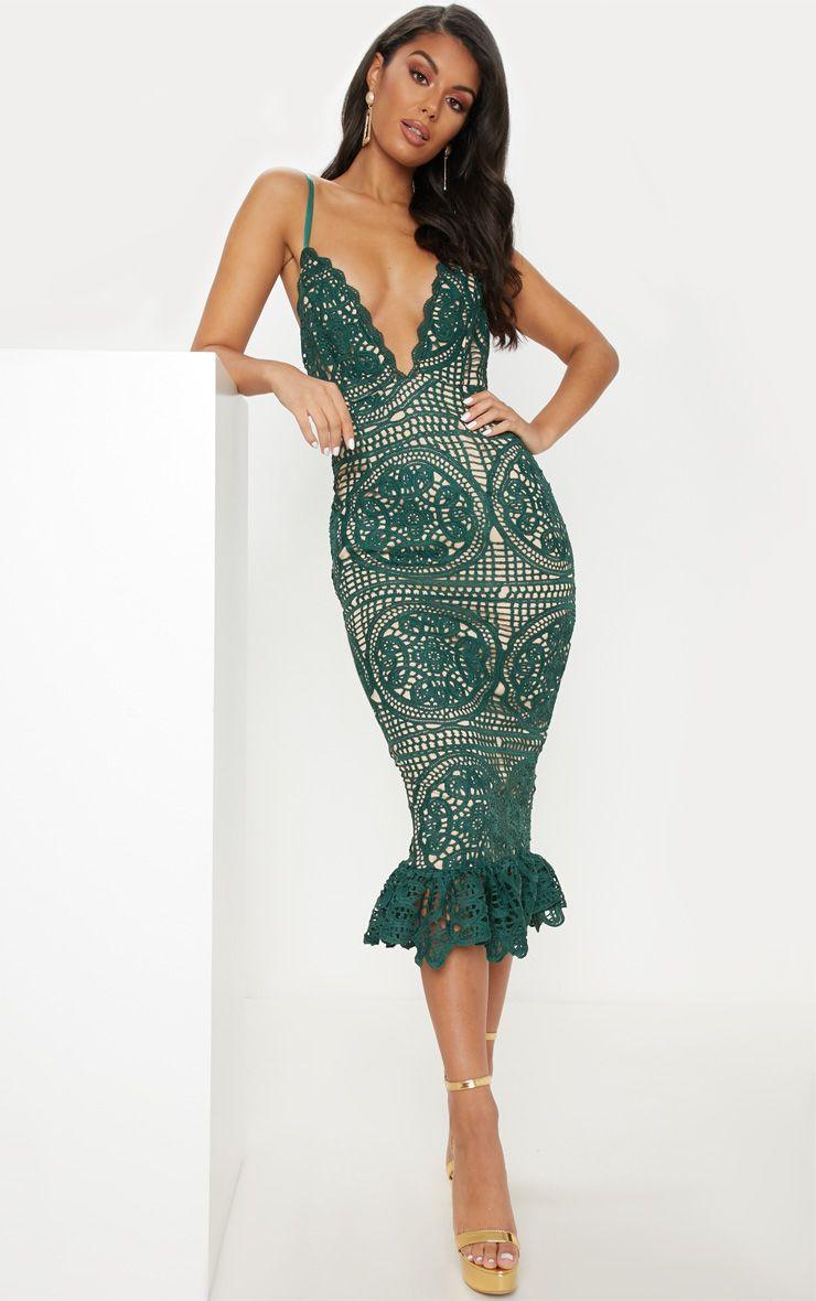 Emerald green strappy thick lace frill hem midi dress in