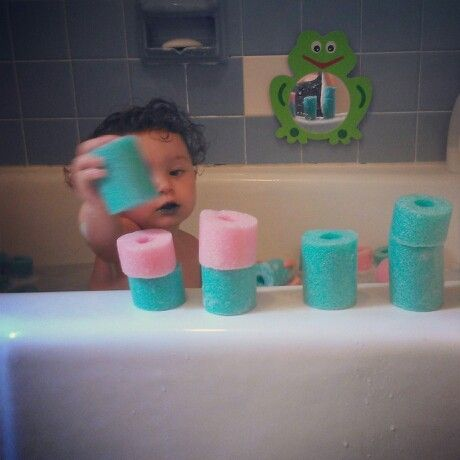 Cut up Pool Noodles for Bathtime Fun!!!!! :)