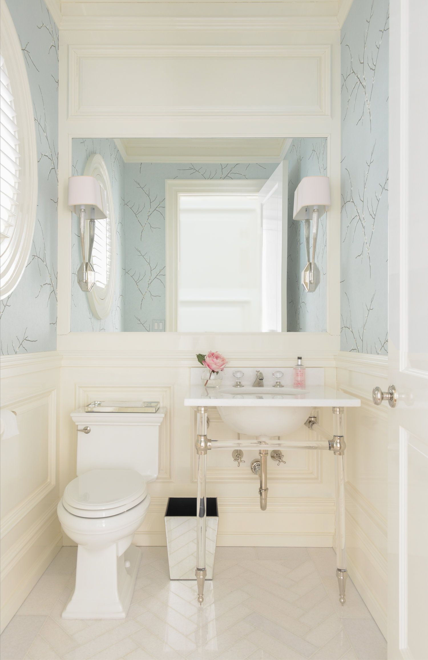 Uptown Townhouse Designer Home Graceful Home Luxe Source Morgan Harrison Home Bathroom Interior Blue Powder Rooms Powder Room Small