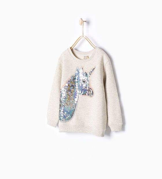 Mönstrad sweatshirt med paljetter | Giyim