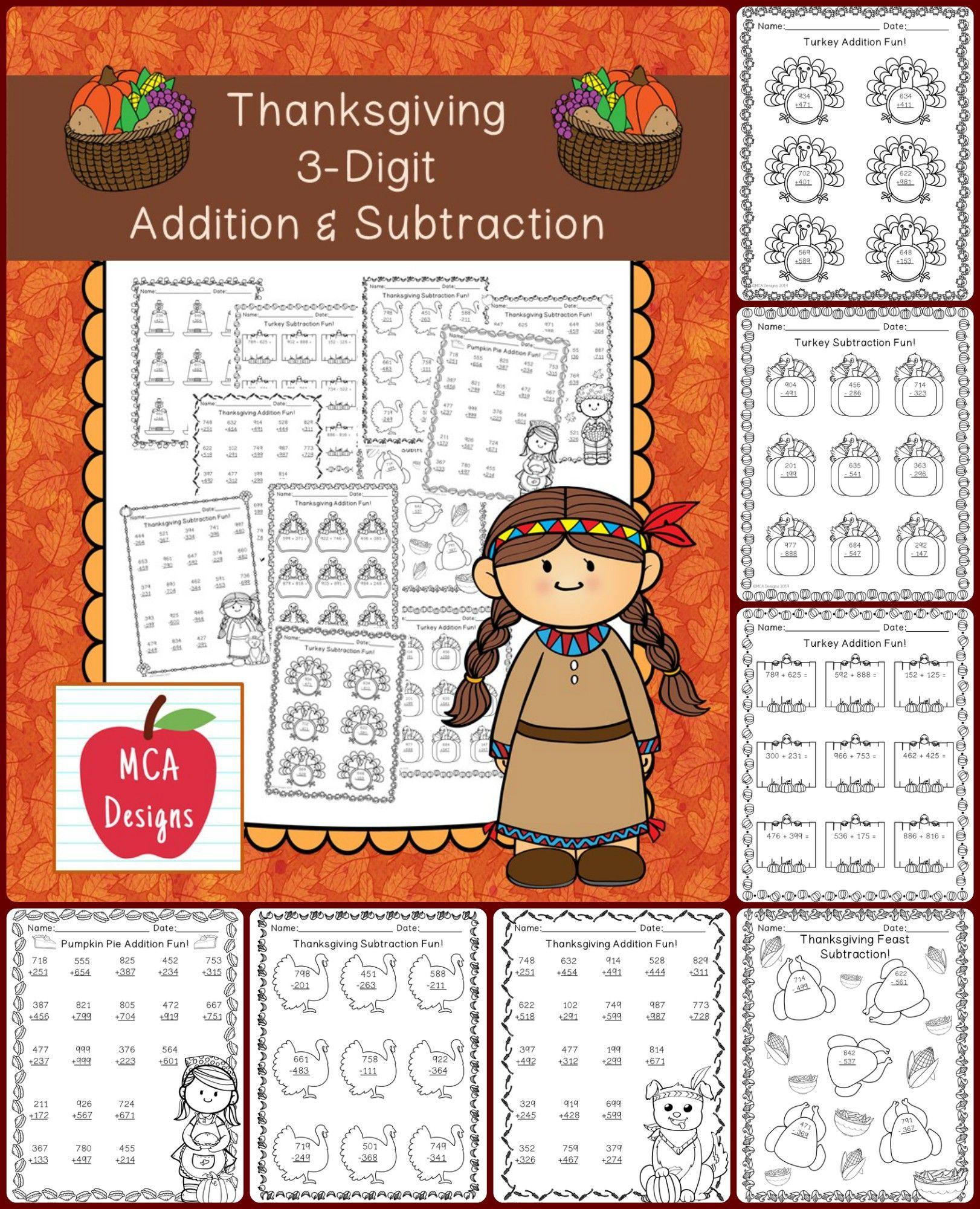 Thanksgiving 3 Digit Addition Amp Subtraction