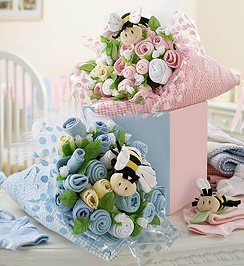 38376f384 Ramos flores ropita bebe enrollada babyshower