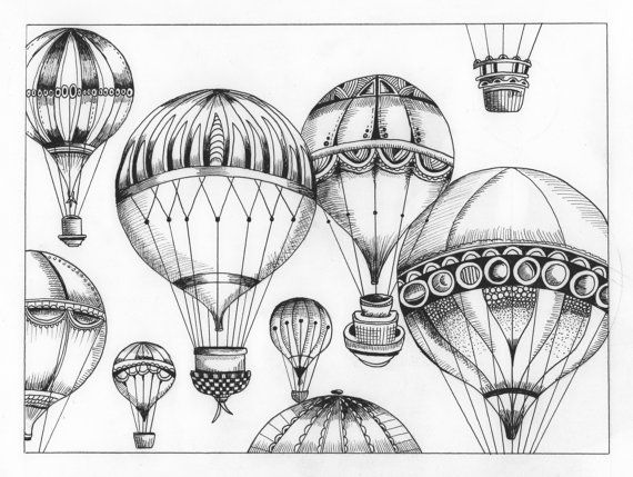 hot air balloons colouring page  Adult ColouringHot Air