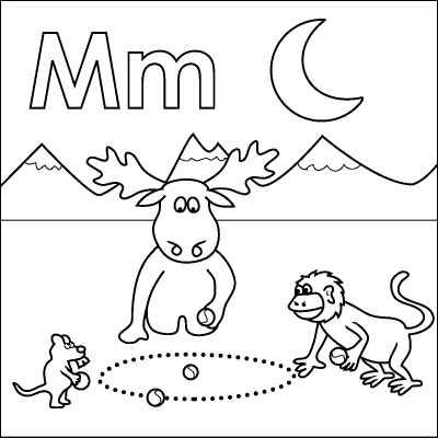 Letter M coloring page (Monkey, Moose, Mouse, Marbles, Moon ...